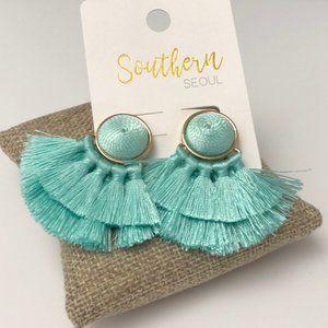🆕Mint Multi tassel post earrings